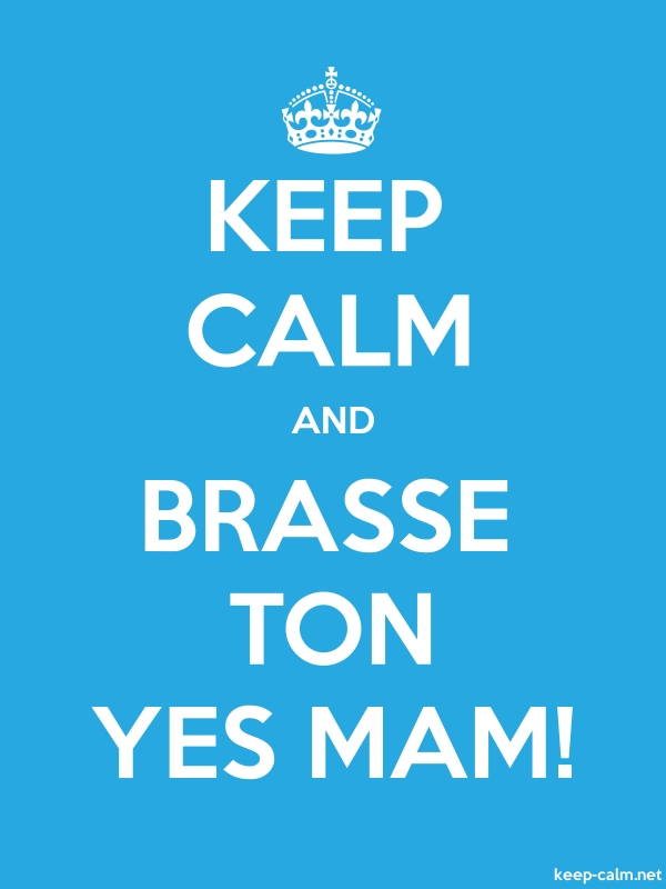 KEEP CALM AND BRASSE TON YES MAM! - white/blue - Default (600x800)