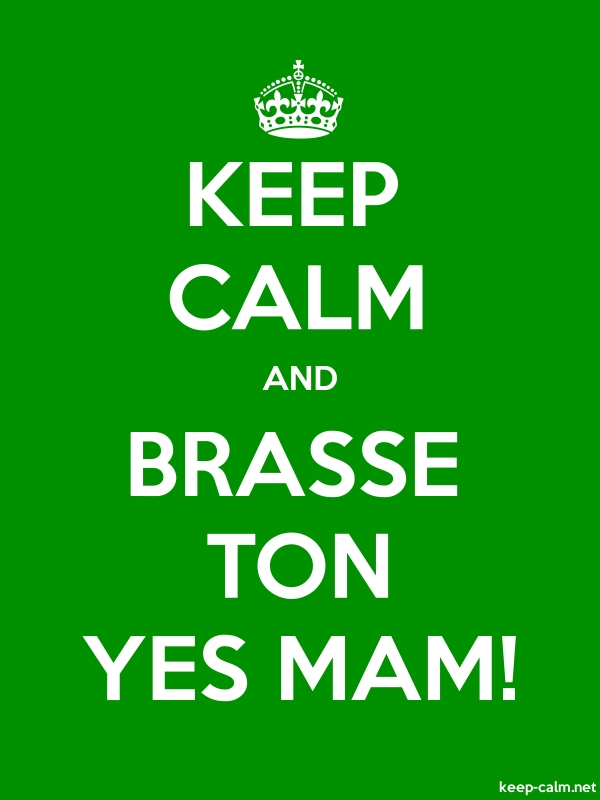 KEEP CALM AND BRASSE TON YES MAM! - white/green - Default (600x800)