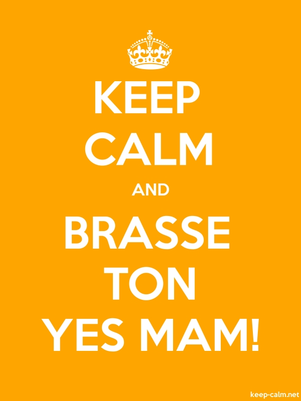 KEEP CALM AND BRASSE TON YES MAM! - white/orange - Default (600x800)