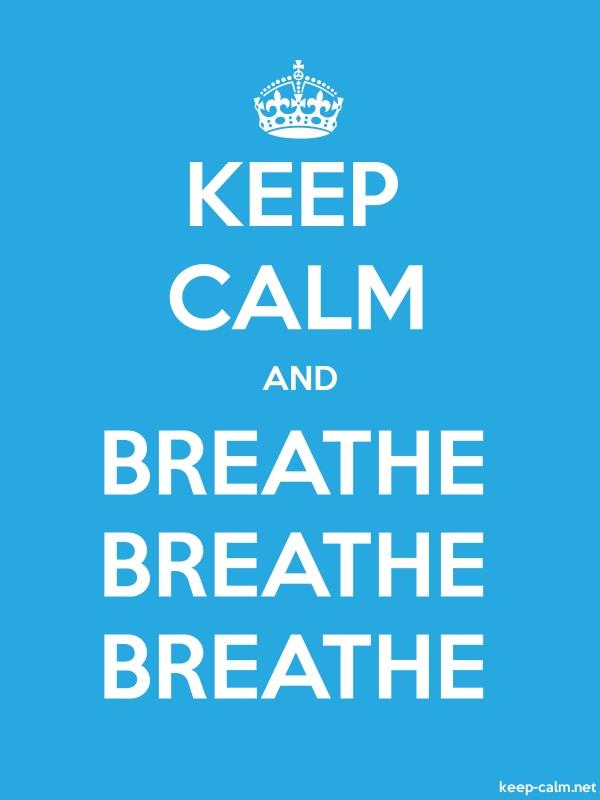 KEEP CALM AND BREATHE BREATHE BREATHE - white/blue - Default (600x800)