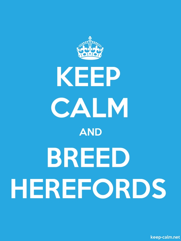 KEEP CALM AND BREED HEREFORDS - white/blue - Default (600x800)