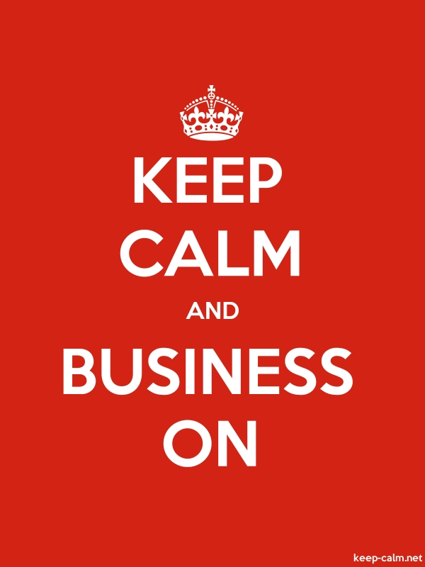 KEEP CALM AND BUSINESS ON - white/red - Default (600x800)