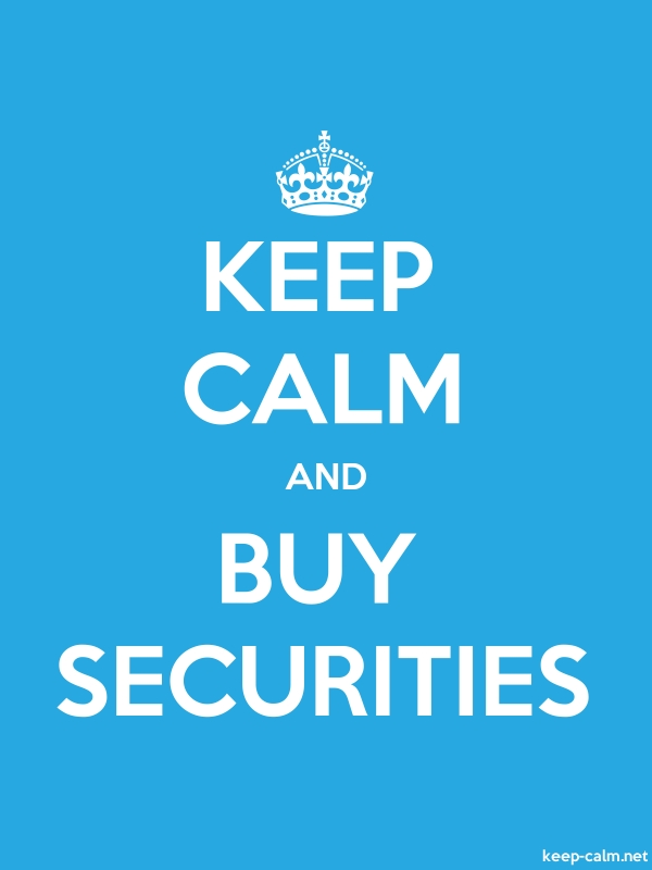 KEEP CALM AND BUY SECURITIES - white/blue - Default (600x800)