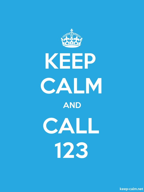 KEEP CALM AND CALL 123 - white/blue - Default (600x800)