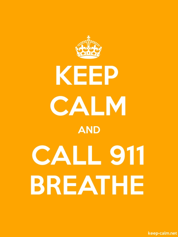 KEEP CALM AND CALL 911 BREATHE - white/orange - Default (600x800)