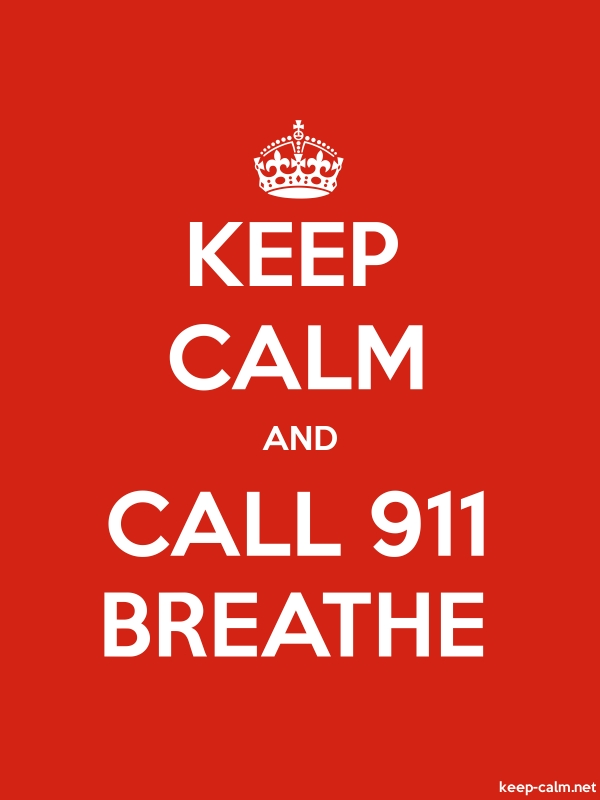 KEEP CALM AND CALL 911 BREATHE - white/red - Default (600x800)