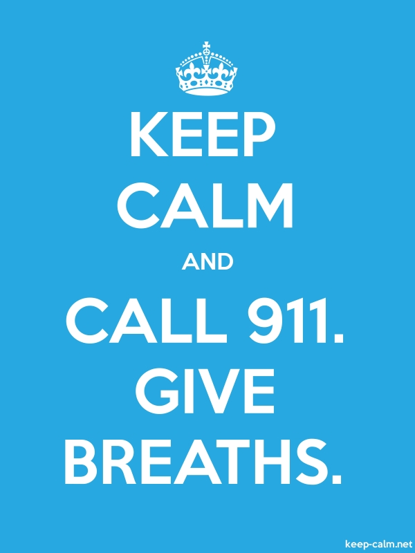 KEEP CALM AND CALL 911. GIVE BREATHS. - white/blue - Default (600x800)