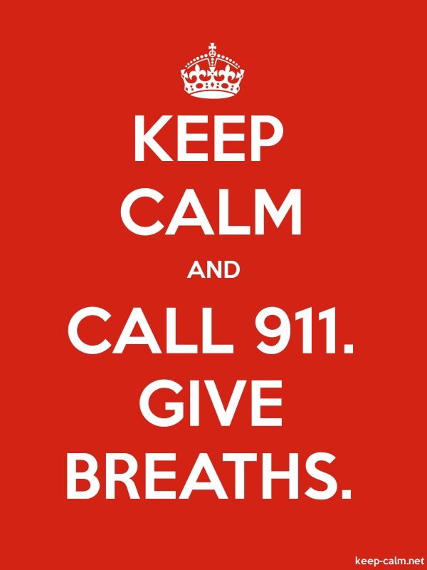 KEEP CALM AND CALL 911. GIVE BREATHS. - white/red - Default (600x800)