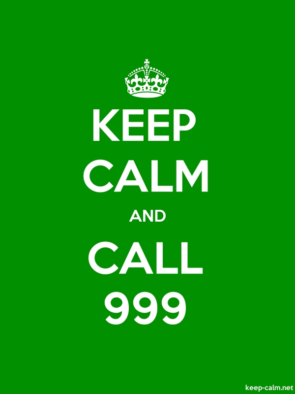 KEEP CALM AND CALL 999 - white/green - Default (600x800)