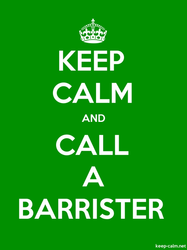 KEEP CALM AND CALL A BARRISTER - white/green - Default (600x800)