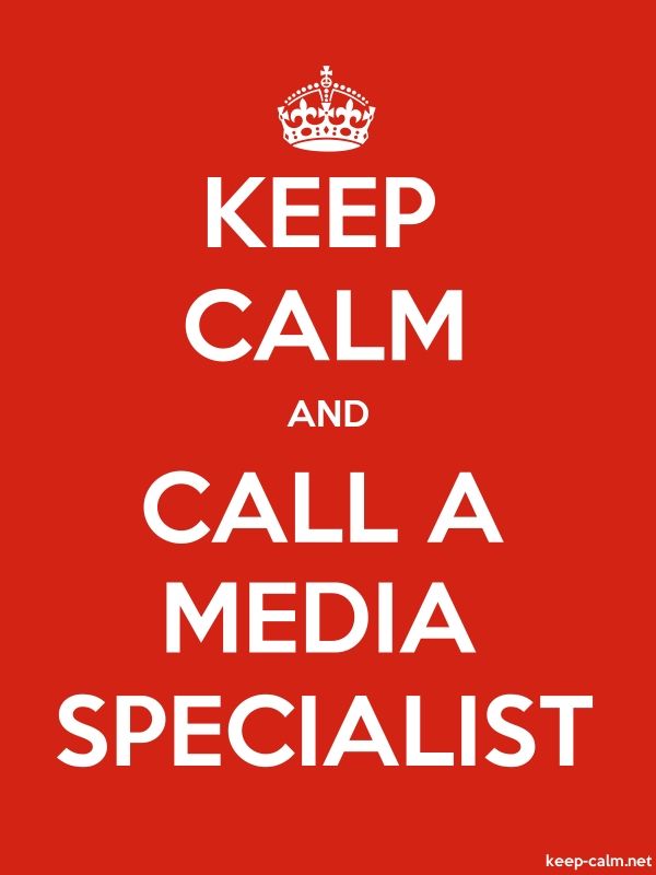 KEEP CALM AND CALL A MEDIA SPECIALIST - white/red - Default (600x800)