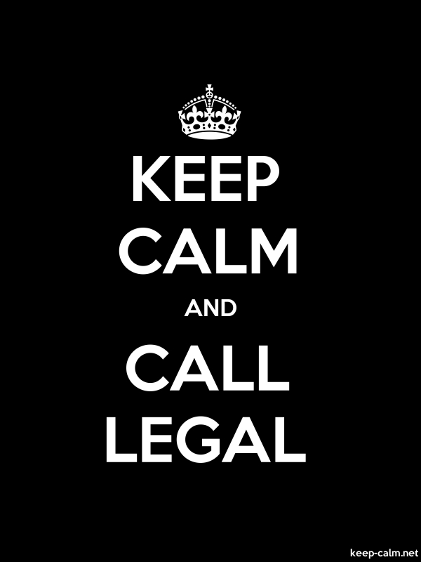 KEEP CALM AND CALL LEGAL - white/black - Default (600x800)