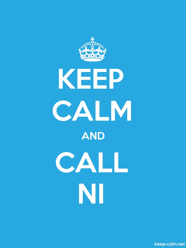 KEEP CALM AND CALL NI - white/blue - Default (600x800)