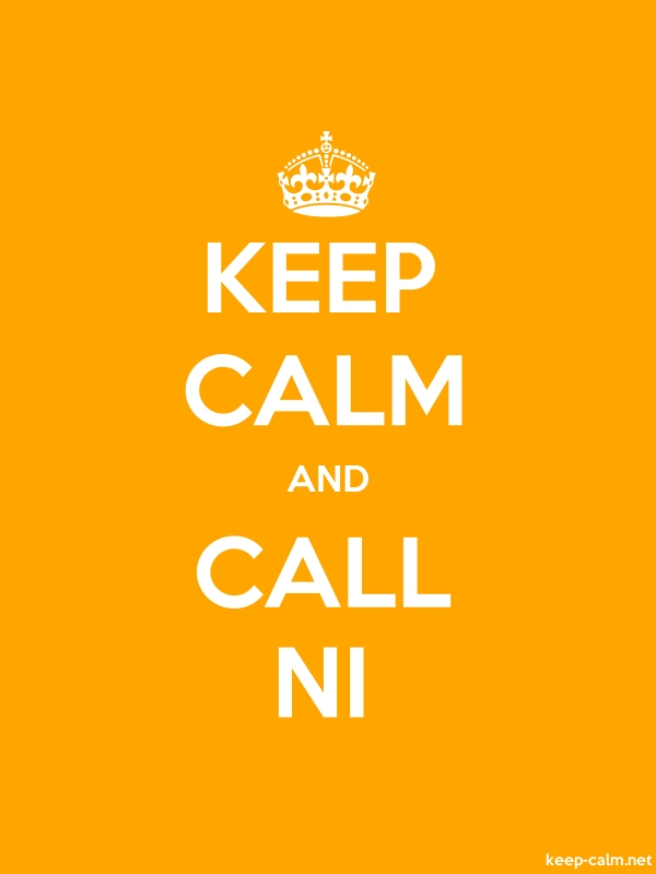KEEP CALM AND CALL NI - white/orange - Default (600x800)
