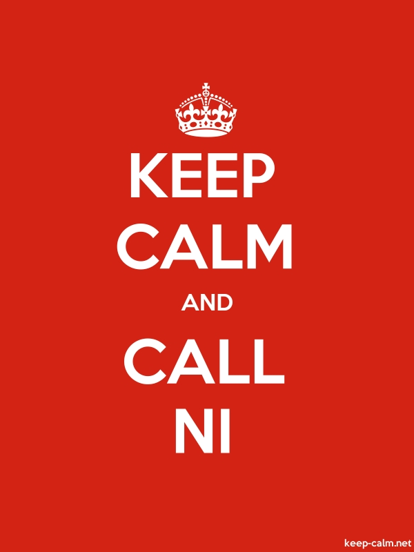 KEEP CALM AND CALL NI - white/red - Default (600x800)