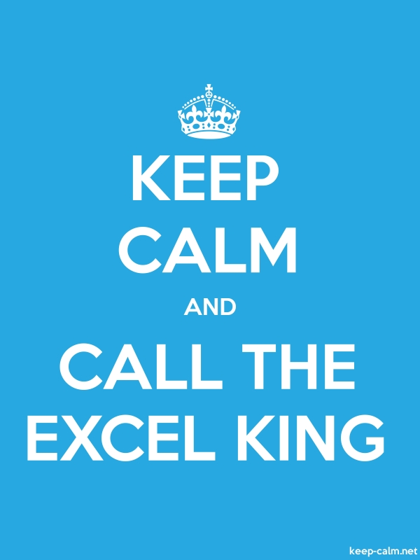 KEEP CALM AND CALL THE EXCEL KING - white/blue - Default (600x800)