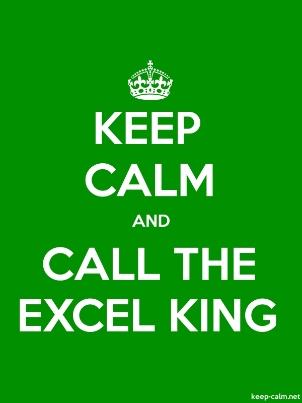 KEEP CALM AND CALL THE EXCEL KING - white/green - Default (600x800)