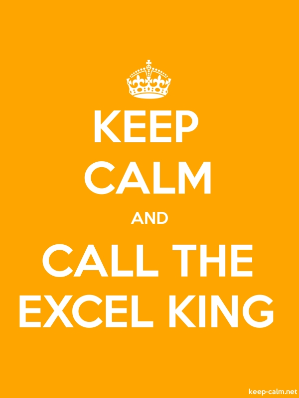 KEEP CALM AND CALL THE EXCEL KING - white/orange - Default (600x800)