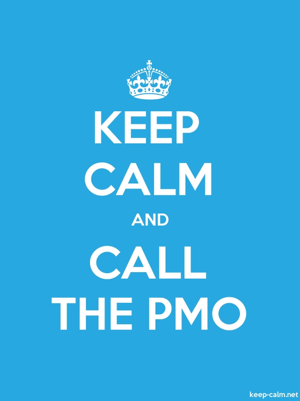 KEEP CALM AND CALL THE PMO - white/blue - Default (600x800)