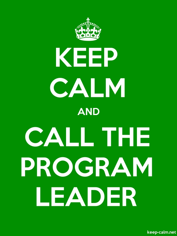 KEEP CALM AND CALL THE PROGRAM LEADER - white/green - Default (600x800)