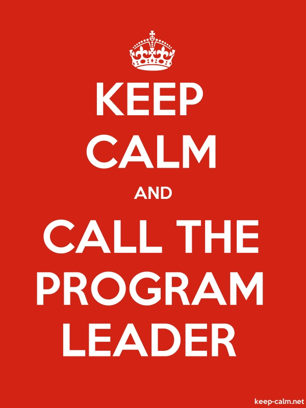 KEEP CALM AND CALL THE PROGRAM LEADER - white/red - Default (600x800)