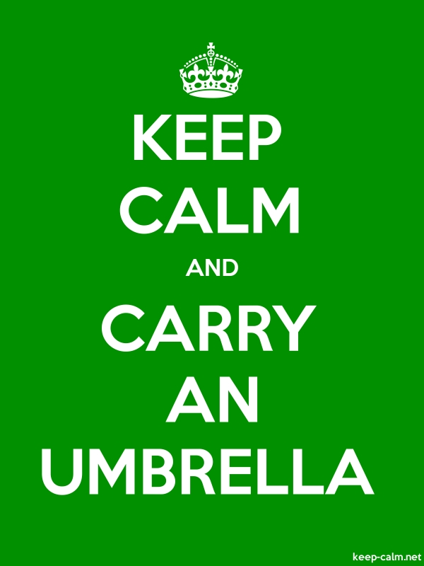 KEEP CALM AND CARRY AN UMBRELLA - white/green - Default (600x800)