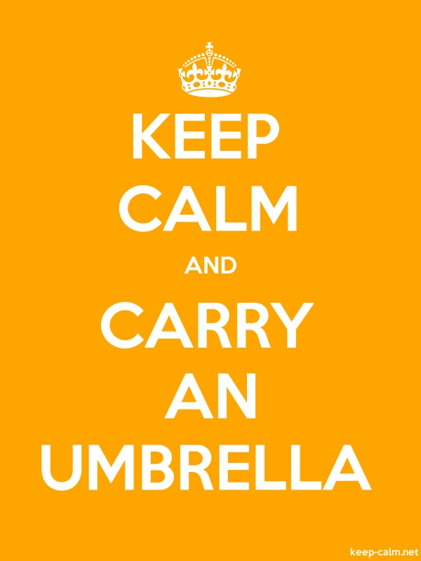 KEEP CALM AND CARRY AN UMBRELLA - white/orange - Default (600x800)