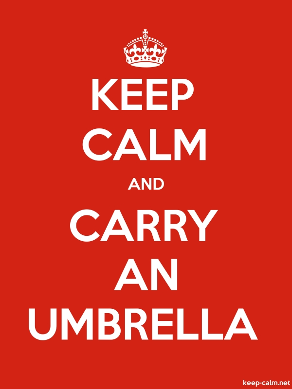KEEP CALM AND CARRY AN UMBRELLA - white/red - Default (600x800)
