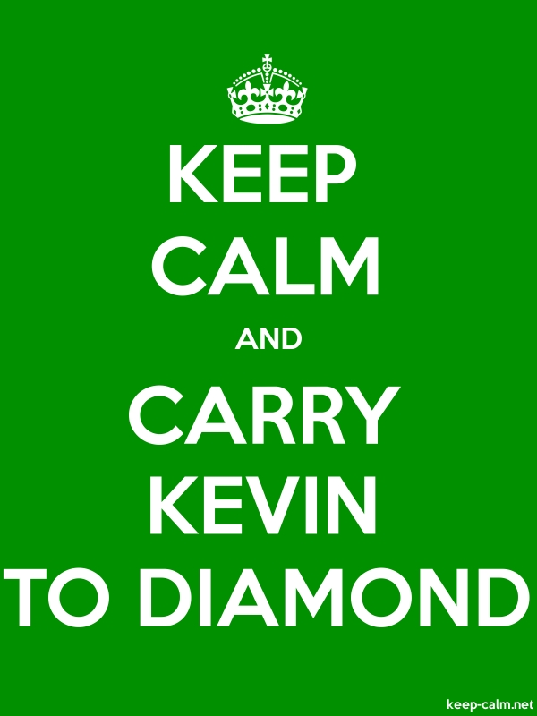 KEEP CALM AND CARRY KEVIN TO DIAMOND - white/green - Default (600x800)