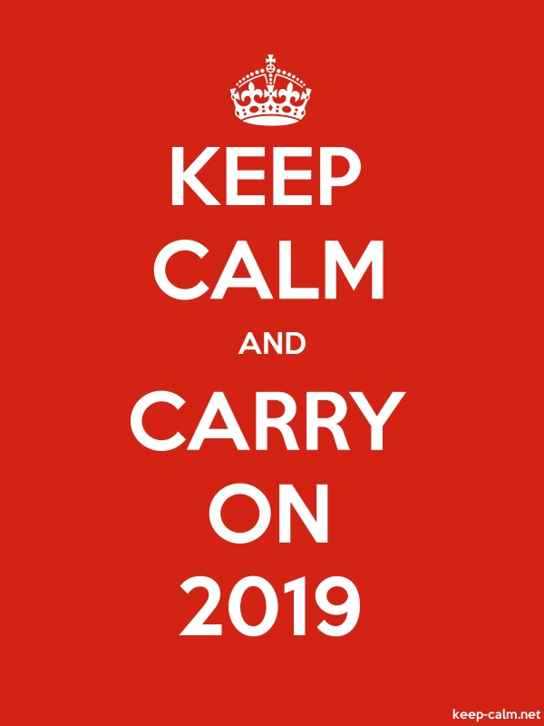 KEEP CALM AND CARRY ON 2019 - white/red - Default (600x800)
