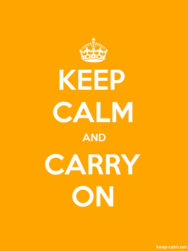 KEEP CALM AND CARRY ON - white/orange - Default (600x800)