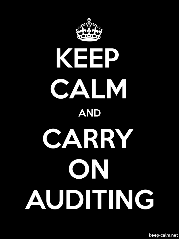 KEEP CALM AND CARRY ON AUDITING - white/black - Default (600x800)