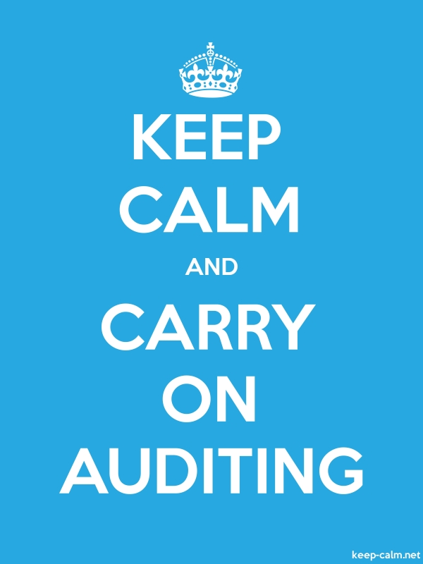 KEEP CALM AND CARRY ON AUDITING - white/blue - Default (600x800)