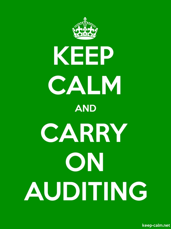 KEEP CALM AND CARRY ON AUDITING - white/green - Default (600x800)