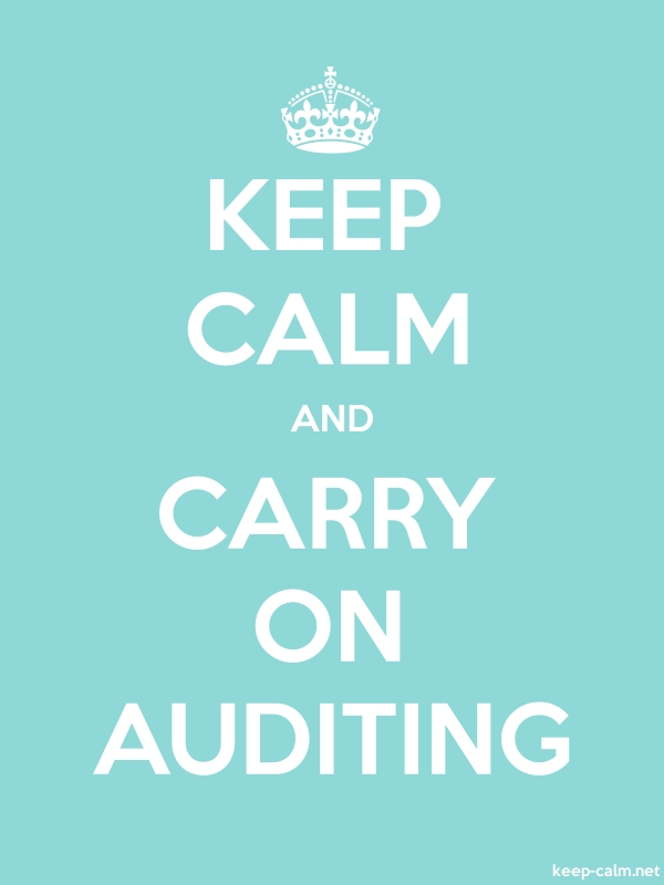 KEEP CALM AND CARRY ON AUDITING - white/lightblue - Default (600x800)