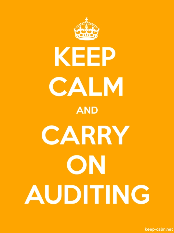 KEEP CALM AND CARRY ON AUDITING - white/orange - Default (600x800)