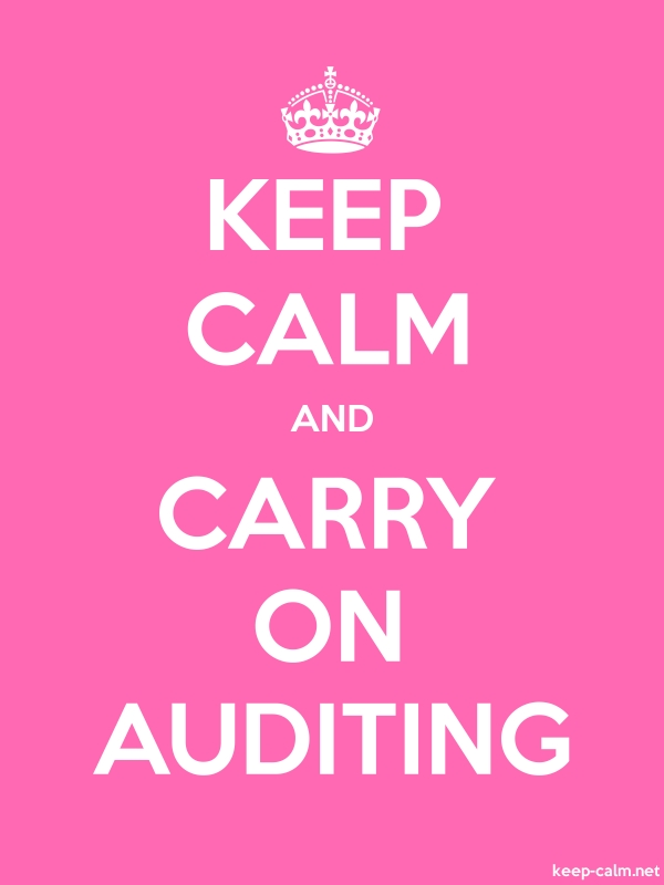 KEEP CALM AND CARRY ON AUDITING - white/pink - Default (600x800)