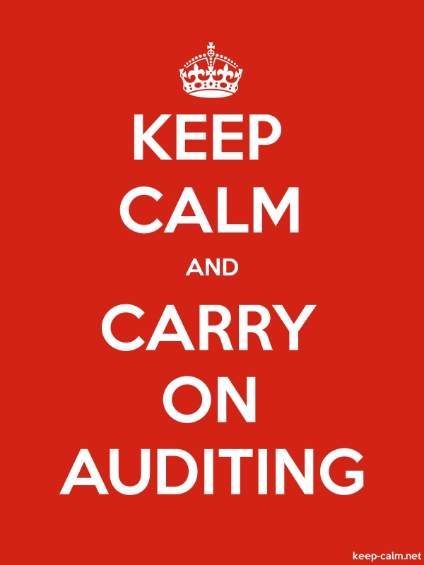 KEEP CALM AND CARRY ON AUDITING - white/red - Default (600x800)