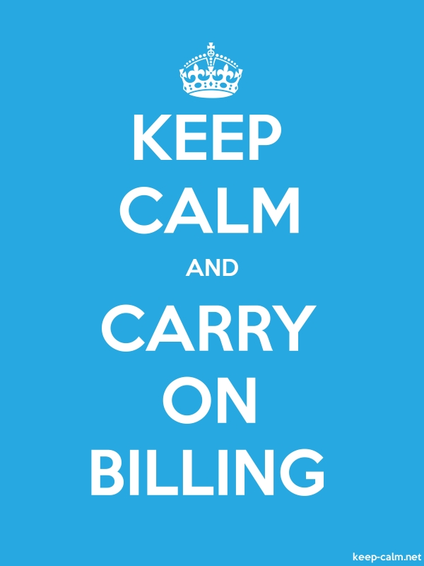 KEEP CALM AND CARRY ON BILLING - white/blue - Default (600x800)