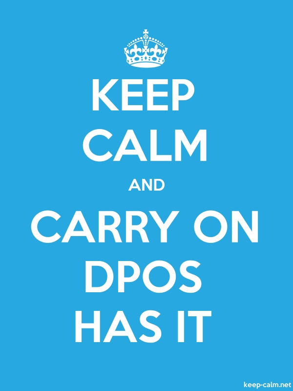 KEEP CALM AND CARRY ON DPOS HAS IT - white/blue - Default (600x800)