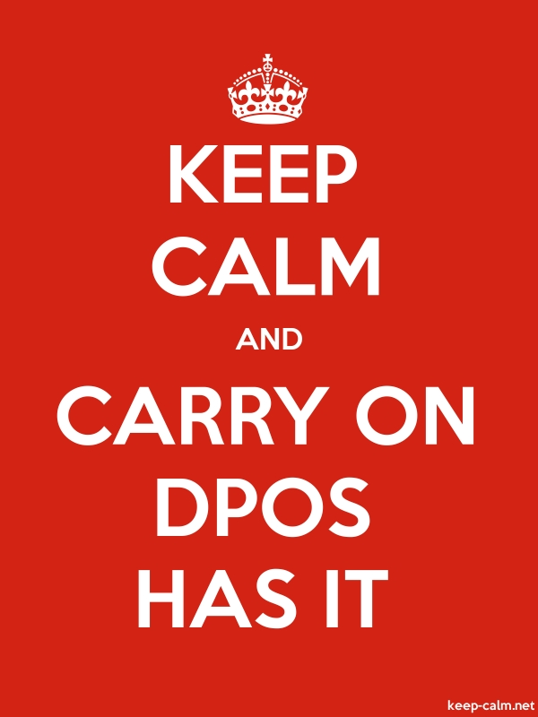 KEEP CALM AND CARRY ON DPOS HAS IT - white/red - Default (600x800)