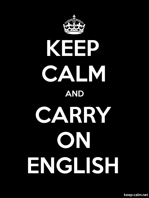 KEEP CALM AND CARRY ON ENGLISH - white/black - Default (600x800)