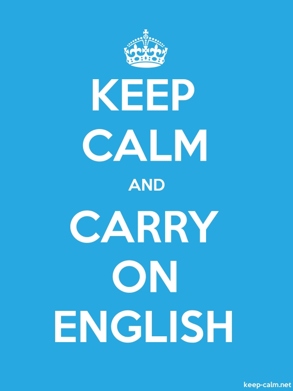 KEEP CALM AND CARRY ON ENGLISH - white/blue - Default (600x800)
