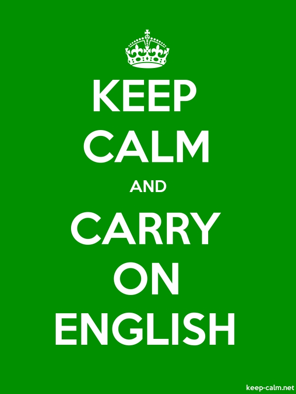 KEEP CALM AND CARRY ON ENGLISH - white/green - Default (600x800)