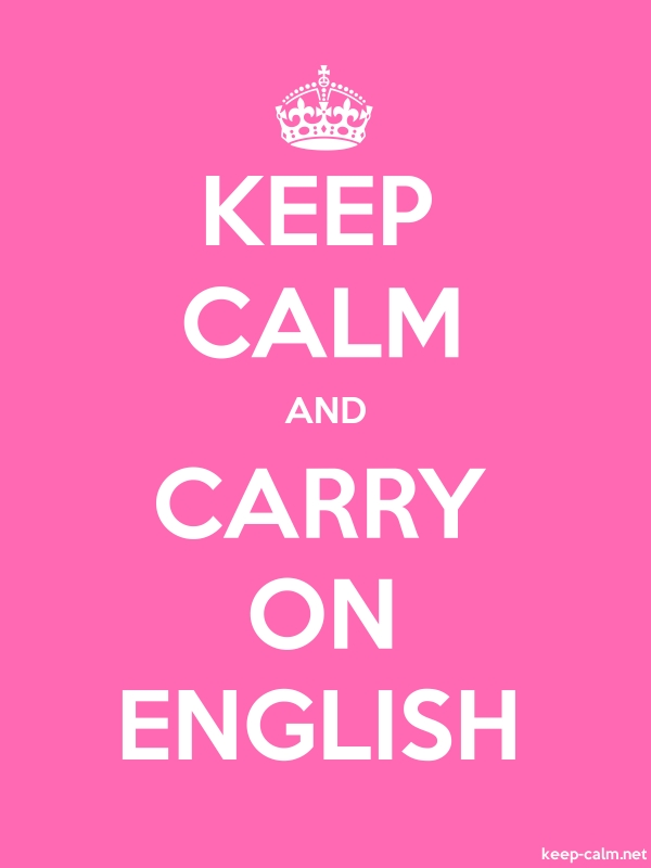 KEEP CALM AND CARRY ON ENGLISH - white/pink - Default (600x800)