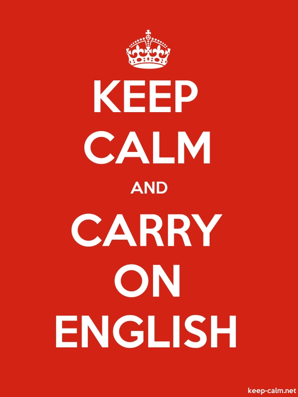 KEEP CALM AND CARRY ON ENGLISH - white/red - Default (600x800)