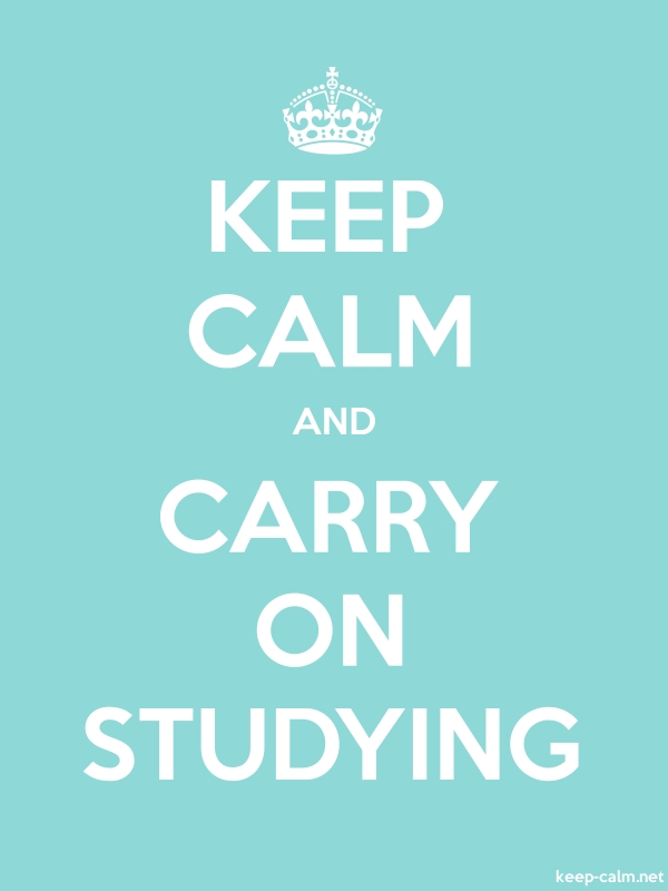 KEEP CALM AND CARRY ON STUDYING - white/lightblue - Default (600x800)