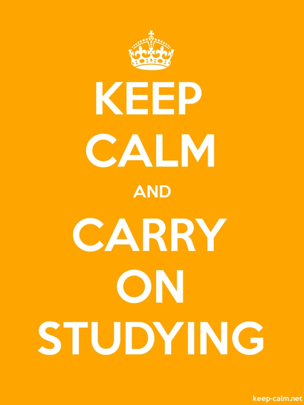 KEEP CALM AND CARRY ON STUDYING - white/orange - Default (600x800)