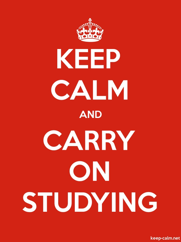 KEEP CALM AND CARRY ON STUDYING - white/red - Default (600x800)