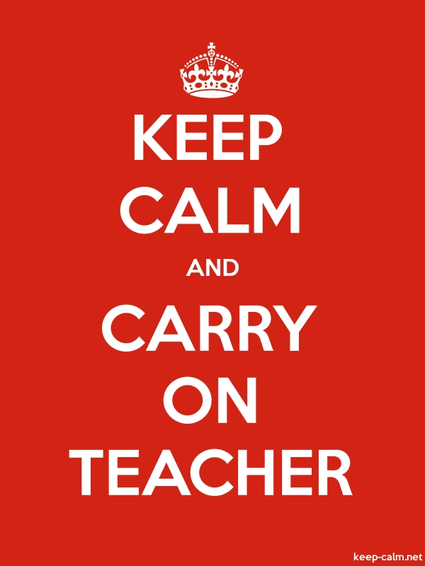 KEEP CALM AND CARRY ON TEACHER - white/red - Default (600x800)